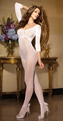 Fishnet Bodystocking with Lace Neckline and 3/4 Sleeves (Plus Size Available)