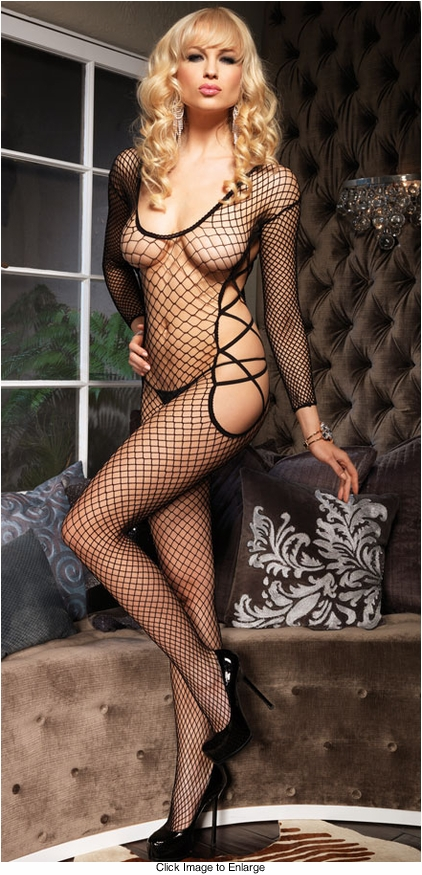 Long Sleeve Bodystocking with Side Cutouts