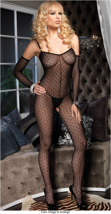 Mini Daisy Lace Bodystockings with Matching Gloves
