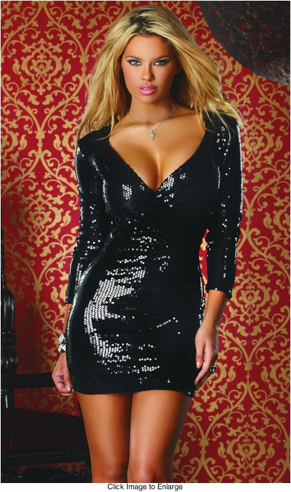 Black Sequin Dress with Plunging Neckline