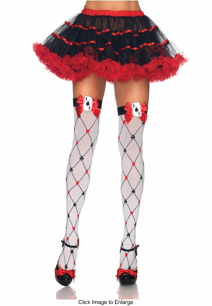 Woven Diamond Card Suit Thigh Highs with Card Charm and Bow
