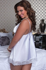 Plus Size White Satin Babydoll and Thong