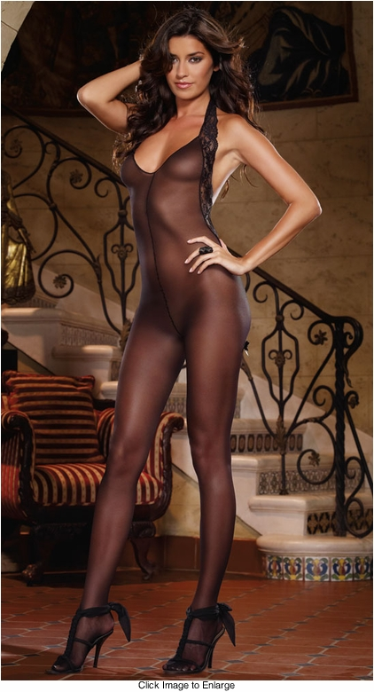 Sheer Halter Bodystocking with Lace Trim and Low V-shaped Back