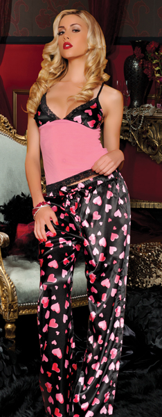 Heart Satin and Mesh Cami and Drawstring Pants