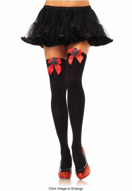 Queen of Hearts Opaque Thigh High Stockings with Club Card and Bow