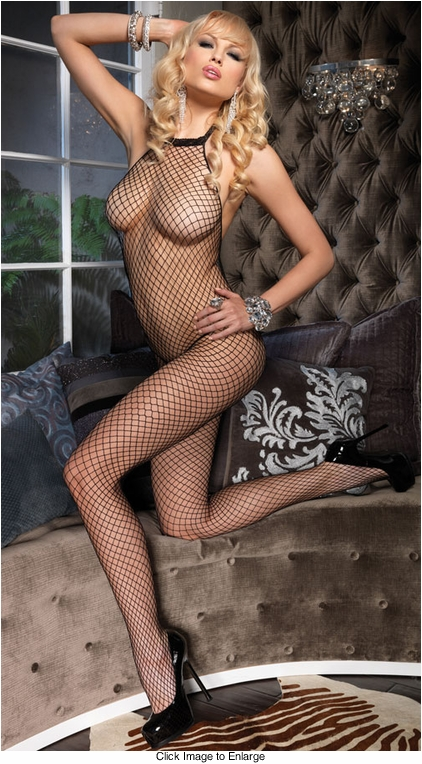 Fishnet Halter Front Bodystocking