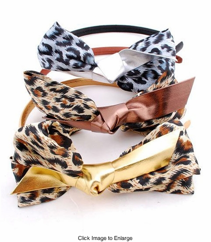 Leopard and Metallic Bow Headband