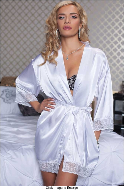 White Satin Robe with Lace Trim