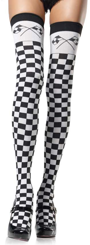 Checkered Flag Thigh Highs
