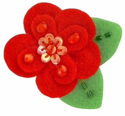"2"" Felt and Crystal Flower Hair Clips in Red for $5.00"