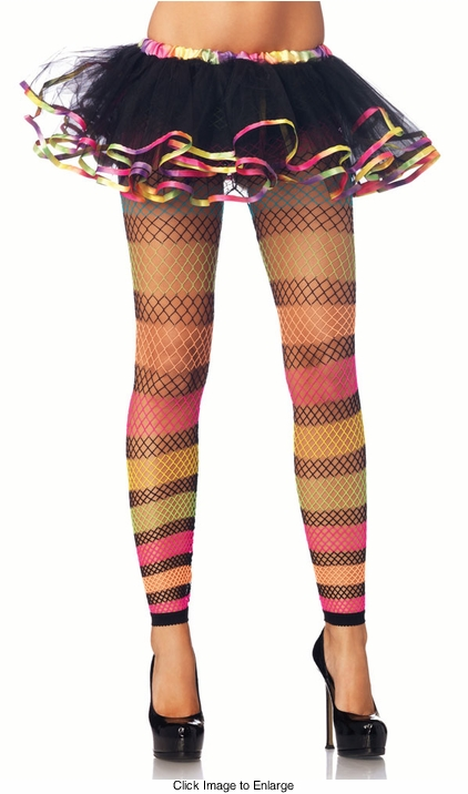 Rainbow Stripe Fishnet Footless Tights
