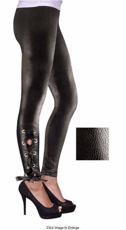 Black Lace-up Leggings in Four Sizes