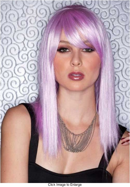Medium Length Lilac Purple Wig