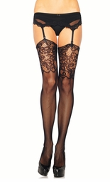 Micro Net Fishnet Stockings with Floral Lace Cuff
