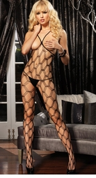 Stacked Net Open Cup Bodystocking