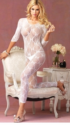 Long Sleeve Bow Lace Bodystocking