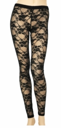 White and Black Mesh Lace Leggings