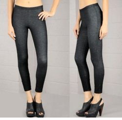Stretch Black Denim Dyed Knit Leggings