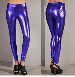 Metallic Leggings with Embroidered Pockets