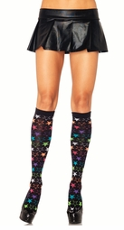 Knee High Socks with Neon Stars