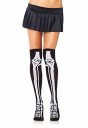 Skull Print Over The Knee High Socks