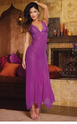 Long Purple Lace Gown