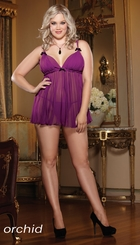 Plus Size Deluxe Pleated Chiffon Babydoll and Thong