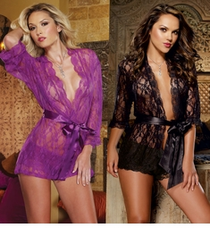 Deluxe Lace Kimono with Matching Shorts