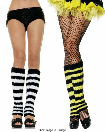 Fuzzy Stripe Leg Warmers