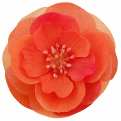 "3"" Flower Hair Clip with Crystal Center  (available in 15 colors)"