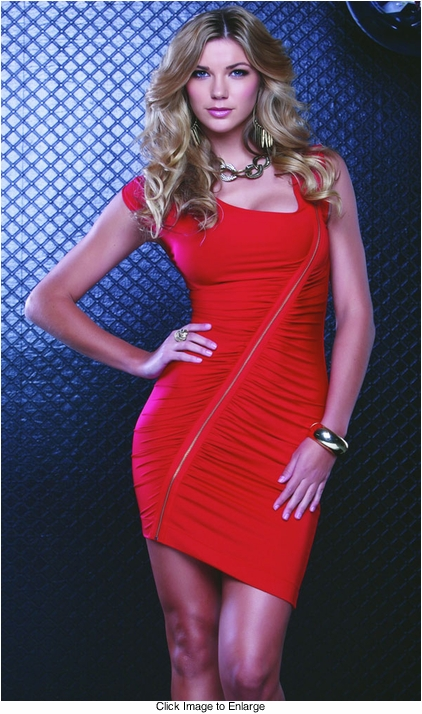 Red Dress with Zipper Detail