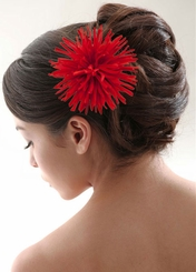 "4.5"" Red Flower Hair Clip"