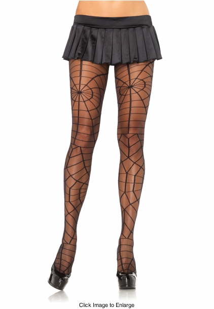 Sheer Pantyhose with Spiderweb Design