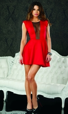 Red A-line Dress with Mesh Inset and Back