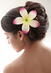 "Stunning 5"" Plumeria Hawaiian Flower Hair Clip"