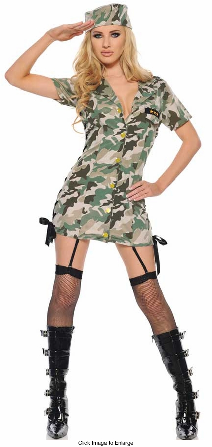 Sexy Army Costume with Lace-up Sides