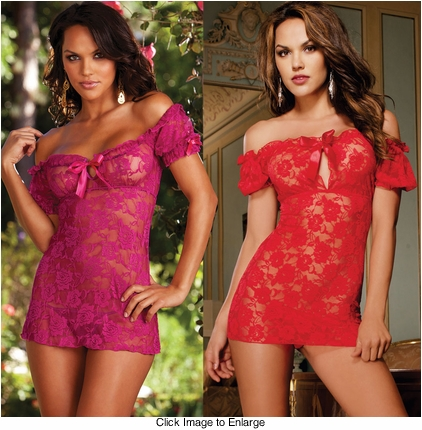Premium Lace Peasant Mini Dress with Thong