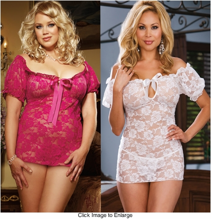 Plus Size Lace Peasant Mini Dress and Thong