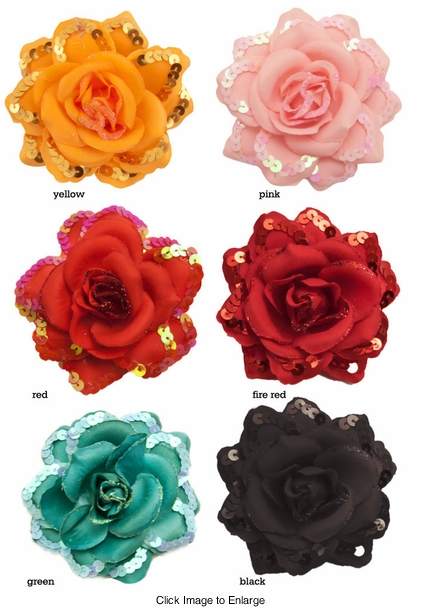 "3.5"" Rose Flower Hair Clip with Sequin and Glitter Edges"