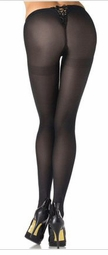 Lycra Opaque Lace Up V Back Pantyhose