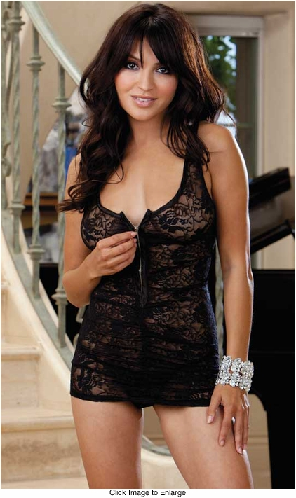 Lace Mini Dress with Zipper Front and Thong