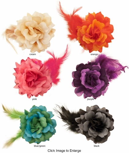 "2.5"" Flower Hair Clip with Feather Accent Pair"