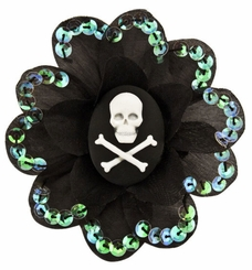 "3.5"" Skull Flower with Sequin Trim Hair Clip"