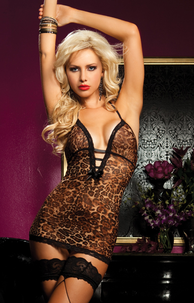 Leopard Mesh Chemise and Thong