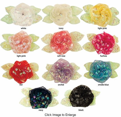 "3.5"" Sequin Flower Hair Clips with Swirled Petals"