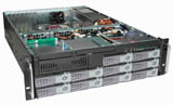 "3U Rackmount Server Chassis, 25.6"" Deep, 10 x Swappable SATA/SAS Trays, Mini-SAS Interface, Dual Xeon/Opteron Ready, Case only, Model # EJ-3U6513MS-C"