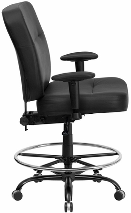 Black Leather 400 Lb Capacity Drafting Chair By Hercules WL 735SYG BK LEA D