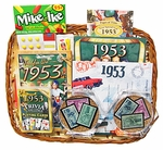 60th Birthday Gift Basket with Stamps for 1953 or 1954