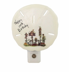 Happy 100th Birthday Nightlight Made from Real Sand Dollar