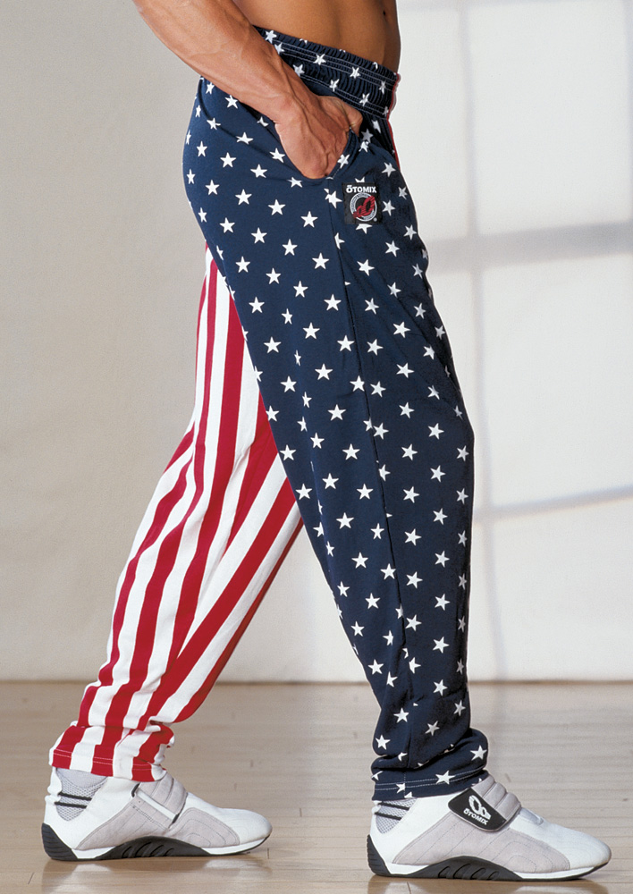 Flag pants in the USA stars and stripes pattern are popular patriotic clothing. The American flag pants are identical to the workout baggy making them great for the gym or MMA training. American flag pants and clothing ship the same business day.